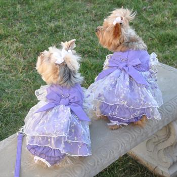 Lavender Garden Party Dog Harness Dress Set at Doggie Design